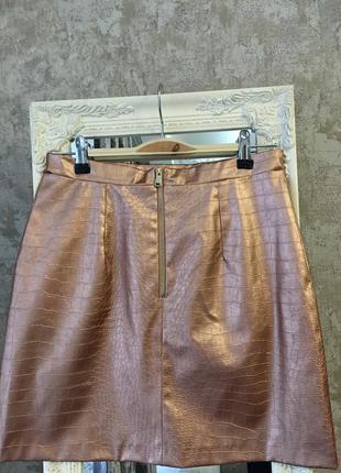 Бронзовая юбка из кожзама4