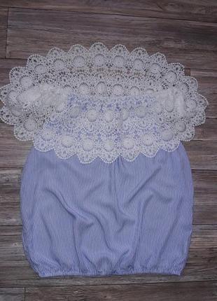 Блуза с кружевом на плечи р.l4 фото
