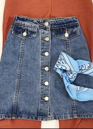 Джинсовая юбка на пуговках2