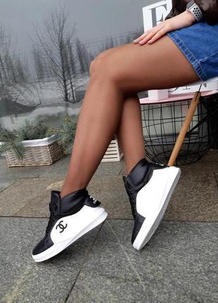 Кроссовки женские высокие натуральная кожа2 фото