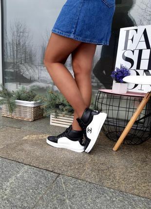 Кроссовки женские высокие натуральная кожа3 фото