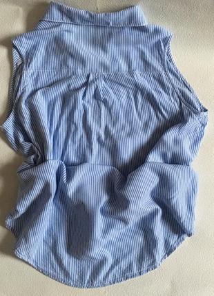 Полосатая рубашка без рукавов с кармашком2