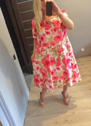 Роскошное льняное цветочное платье в маки р.221