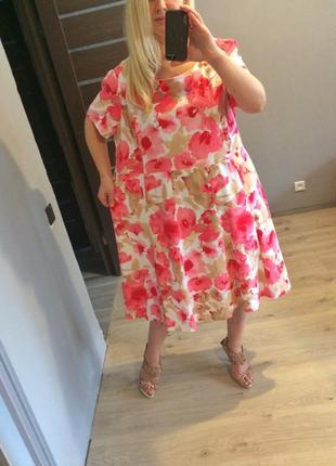 Роскошное льняное цветочное платье в маки р.222