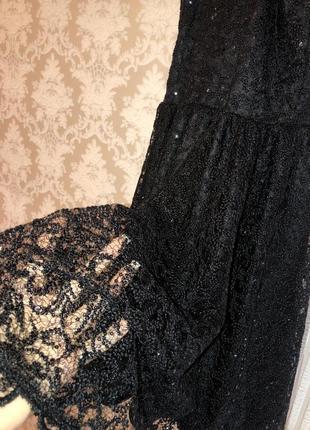Чёрное блестящее кружевное платье - мини5