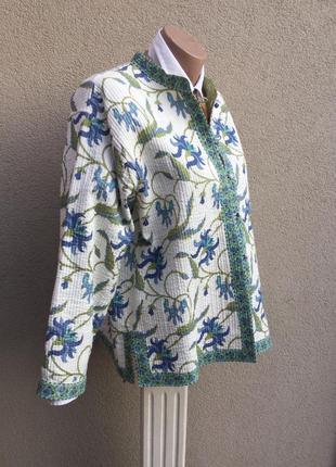 Двухсторонняя,стёганная,легкая куртка,жакет,пиджак,кардиган,хлопок,индия,эксклюзив,этно1 фото