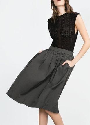 Стильная юбка миди с карманами zara, р.xs5
