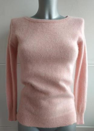Кашемировый свитер (100% кашемир) нежно-розового цвета с боковыми разрезиками1