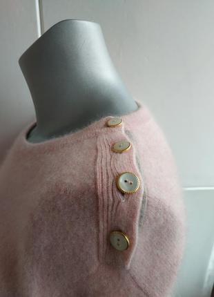 Кашемировый свитер (100% кашемир) нежно-розового цвета с боковыми разрезиками5