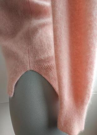 Кашемировый свитер (100% кашемир) нежно-розового цвета с боковыми разрезиками6