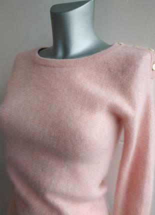 Кашемировый свитер (100% кашемир) нежно-розового цвета с боковыми разрезиками7