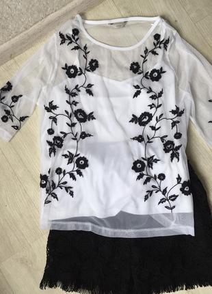Очень красивая блуза сетка с вышивкой2