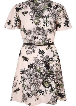 Платье пудра принт (без пояса) river island5