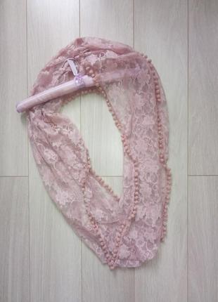 🌸 готовимся к весне 🌸 набор из 3-х шарфов: клетку сиреневый, вязанный фиолетовый, розовый2