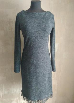 Классное платье миди ангора (теплое)+качественное кружево м-l2 фото