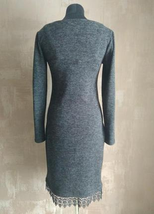 Классное платье миди ангора (теплое)+качественное кружево м-l3 фото