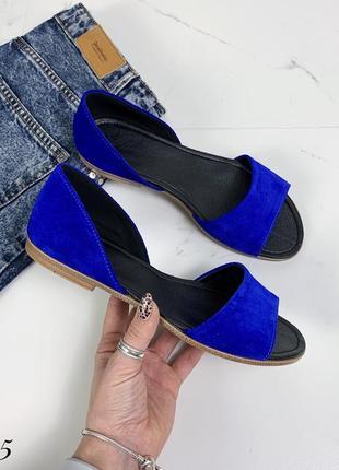 Замшевые босоножки сандалии балетки с открытым носком. 36-411 фото