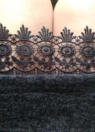 Классное платье миди ангора (теплое)+качественное кружево м-l4 фото