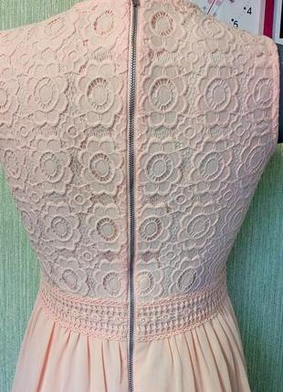 Нежное персиковое платье5 фото