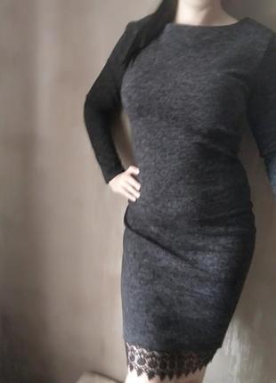Классное платье миди ангора (теплое)+качественное кружево м-l1 фото