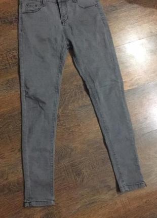 Серые джинсы супер скини super skini штаны серые высокая посадка2