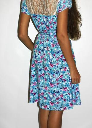 Яркое платье миди, спинка кружево - есть пояс2