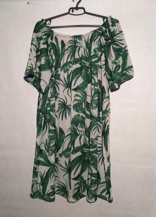 Платье летнее пляжное пальма пальмовый принт открытые плечи спущенные1