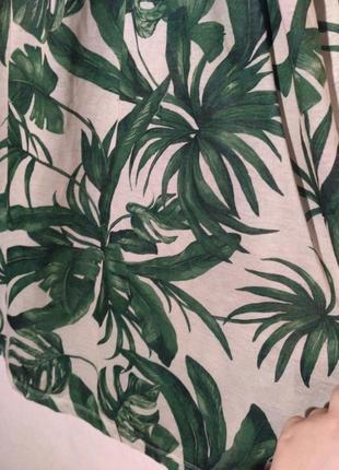 Платье летнее пляжное пальма пальмовый принт открытые плечи спущенные2