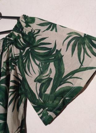 Платье летнее пляжное пальма пальмовый принт открытые плечи спущенные3