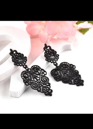 Серьги сережки черные богема1 фото