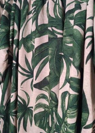 Платье летнее пляжное пальма пальмовый принт открытые плечи спущенные4