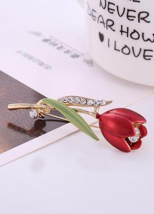 Роскошная брошь красный тюльпан1