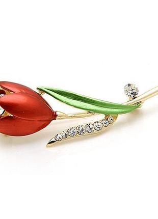 Роскошная брошь красный тюльпан2