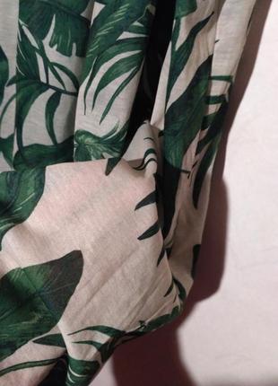 Платье летнее пляжное пальма пальмовый принт открытые плечи спущенные5
