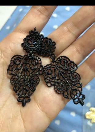 Серьги сережки черные богема3 фото