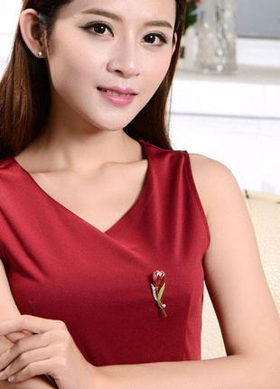 Роскошная брошь красный тюльпан4
