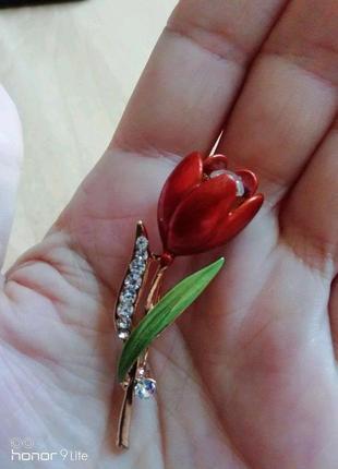 Роскошная брошь красный тюльпан5