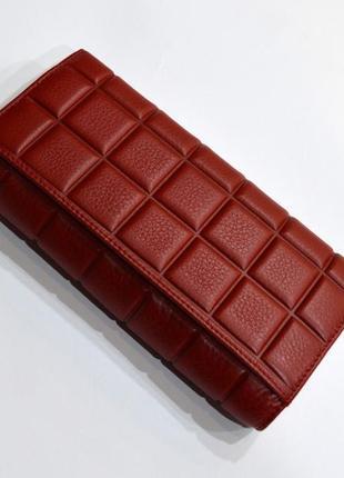 Женский классический кошелек из стеганой кожи красного цвета chanel3
