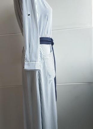 Стильное платье- рубашка zara в полоску, с карманами, поясом и боковыми разрезами2 фото