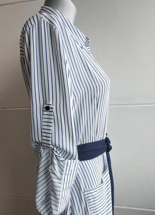 Стильное платье- рубашка zara в полоску, с карманами, поясом и боковыми разрезами3 фото