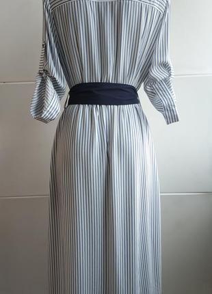 Стильное платье- рубашка zara в полоску, с карманами, поясом и боковыми разрезами4 фото