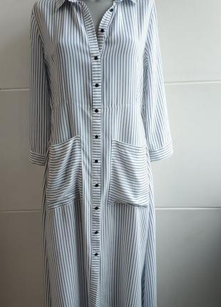 Стильное платье- рубашка zara в полоску, с карманами, поясом и боковыми разрезами5 фото