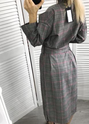 Плаття в клітинку з поясом і гудзиками8 фото