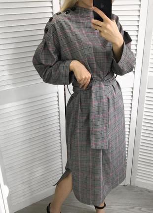 Плаття в клітинку з поясом і гудзиками9 фото