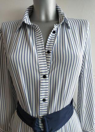 Стильное платье- рубашка zara в полоску, с карманами, поясом и боковыми разрезами6 фото