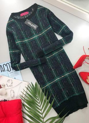 Теплое вязаное платье-свитер в клетку boohoo