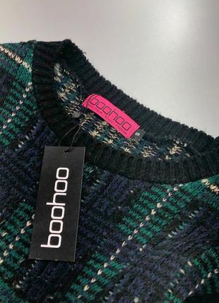 Теплое вязаное платье-свитер в клетку boohoo2 фото