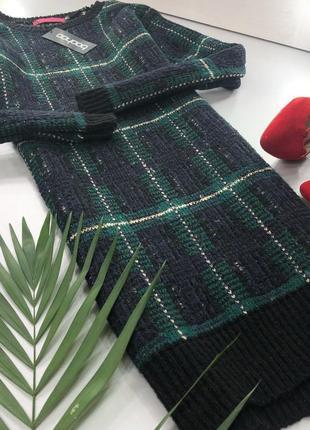 Теплое вязаное платье-свитер в клетку boohoo4 фото