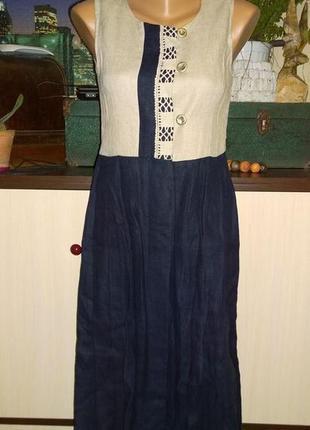 Платье жилет из 100% льна1