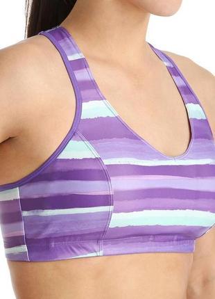 Стильный спортивный фиолетовый бюстгальтер топ бра для фитнеса/ бега/ йоги размер м1